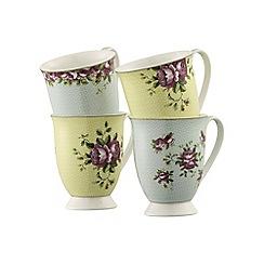 Aynsley China - Set of 4 Archive Rose Mugs