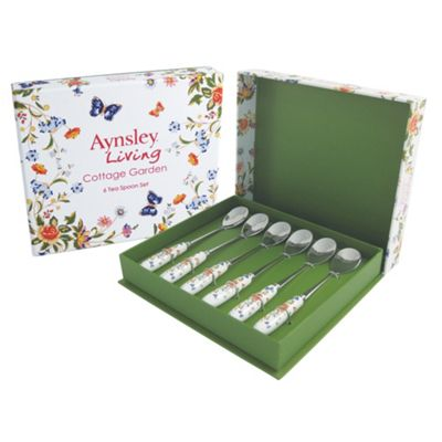 Aynsley China Cottage garden set of six teaspoons - . -