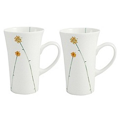 Aynsley China - White Daisychain pair of Latte mugs
