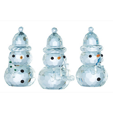 Galway Living - Crystal +Gem+ Snowman Christmas ornament 3 Pack