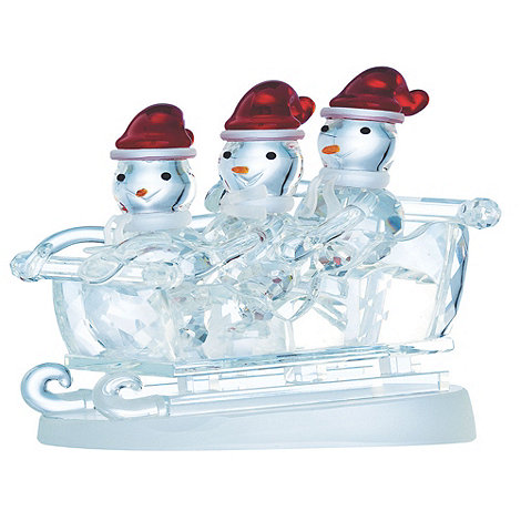Galway Living - Crystal +Magical+ Three Snowmen On Sleigh Christmas ornament