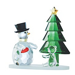 Galway Living - Crystal 'Magical' Snowmen And Green Christmas Tree ornament