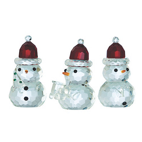 Galway Living - Crystal 'Magical' Christmas Snowmen Ornament three red hats