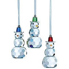 Belleek Living - Multicoloured hanging Snowman ornament 3 pack.