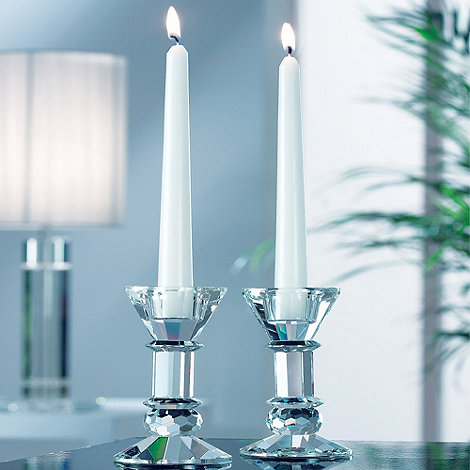 Galway Living - Crystal 'Ritz' Pair Of Candleholders 5inch