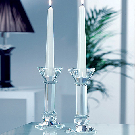 Galway Living - Crystal +Ritz+ Pair Of Candleholders 7inch