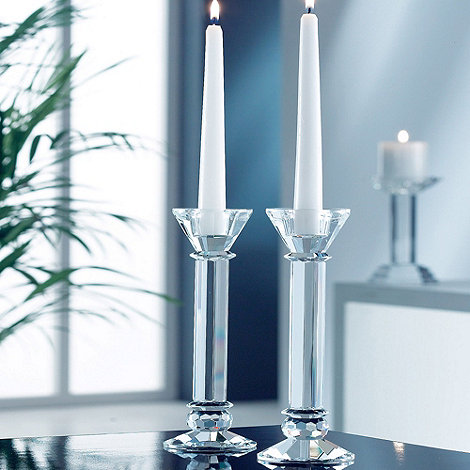 Galway Living - Crystal +Ritz+ Pair Of Candleholders 9inch