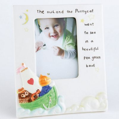 Aynsley China Ivory ´Nursery´ Owl and Pussycat photo frame - . -