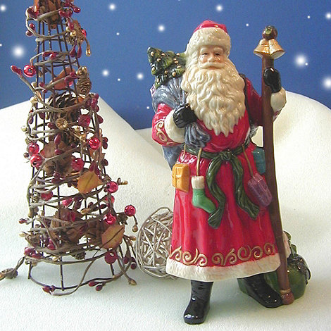 Aynsley China - Santa with staff Christmas ornament