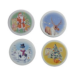Aynsley China - Multicoloured set of four Christmas coasters