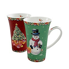 Aynsley China - Multicoloured pair of Christmas latte mugs