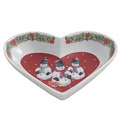 Aynsley China - Multicoloured Christmas Snowman heart dish