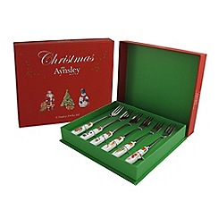 Aynsley China - Classic Christmas Various 6 Pastry Forks