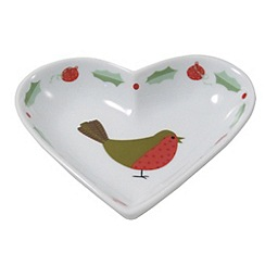 Aynsley China - Multicoloured Christmas Robin heart dish