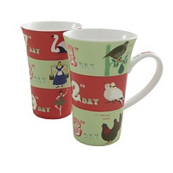 Belleek Living - Multicoloured pair of Christmas latte mugs