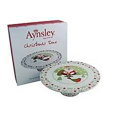 Aynsley China - Santa and Robin footed cake stand