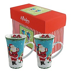 Aynsley China - Santa and Elves set of 2 Latte mugs