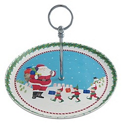 Aynsley China - Santa and Elves cake stand