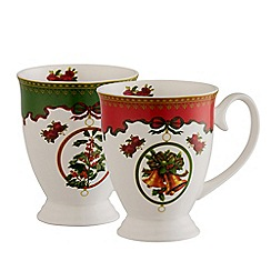 Aynsley China - Christmas Ribbon Footed Mugs Set of 2