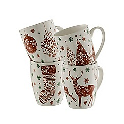 Aynsley China - Festive fun set of 4 mugs
