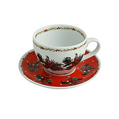 Aynsley China - Christmas Mistletoe and Holly teacup and saucer