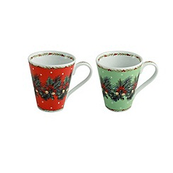 Aynsley China - Christmas Mistletoe and Holly set of 2 mugs