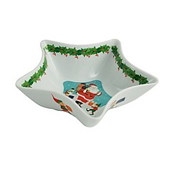 Aynsley China - Christmas Santa and Elves star dish
