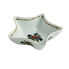 Aynsley China - Christmas Mistletoe and Holly star dish