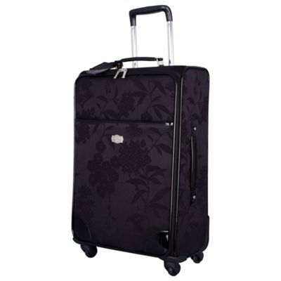 Black Hydrangea Medium 4 Wheel Suitcase