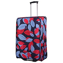 Tripp - Denim blue poppy 'Leaf' Large 2-wheel suitcase