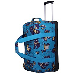 Tripp - Scattered Leaf Large Wheel Duffle  Turquoise/Grape