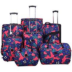 Tripp - Express Hibiscus 2-wheel Suitcase Range in Coral/indigo