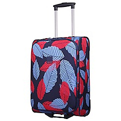 Tripp - Denim blue poppy 'Leaf ' cabin 2-wheel suitcase