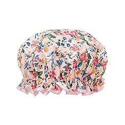 The Vintage Cosmetic Company - 'Pink Floral Satin' shower cap