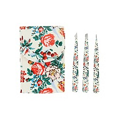 The Vintage Cosmetic Company - 'Floral 3 Piece' tweezer set with pouch