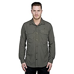 Craghoppers - Dark khaki nosilife long-sleeved angler shirt