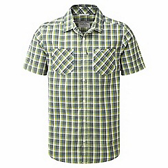 Craghoppers - Dark khaki check corin short sleeved checked shirt