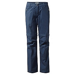 Craghoppers - Soft navy C65 convertible trousers - short length