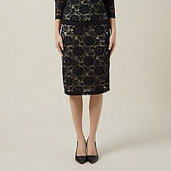 Precis Petite - Navy lace with lemon skirt