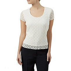 Precis Petite - Floral lace jersey ivory top