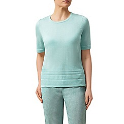 Eastex - Short sleeve basic pintuck sweater aqua