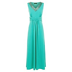 Precis Petite - Green Embellished Maxi Dress