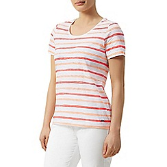 Dash - Short sleeve painted stripe slub scoop