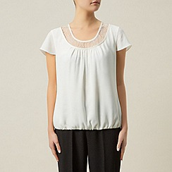 Precis Petite - Ivory blouse with lace trim