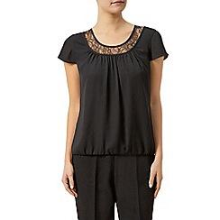 Precis Petite - Black blouse with lace trim