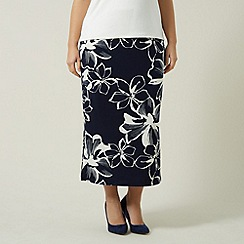 Windsmoor - Navy Flower Straight Skirt