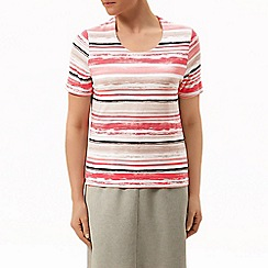 Eastex - Coral watercolour stripe top