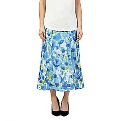 Precis Petite - Printed panel linen skirt