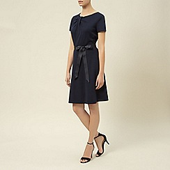 Kaliko - Belted twist neck ponte dress