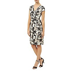 Kaliko - Floral print tuck v neck dress